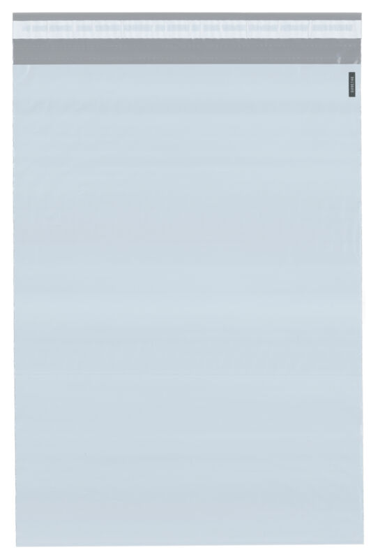 "Plymor Poly Mailer White/Gray Bag with Closure and Strip, 9"" x 12"" (Cse of 1000)"