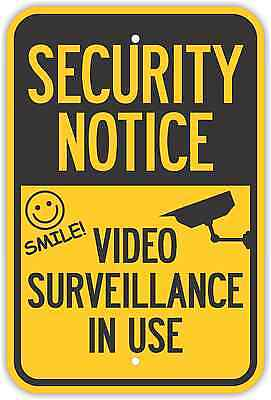 12x18 Security Notice Video Surveillance In Use Signs Heavy Duty Metal Yellow
