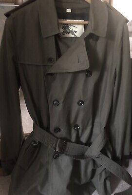 Burberry Olive Green Jacket Trench Coat Size 52 - RRP -£1800- RARE & BESPOKE