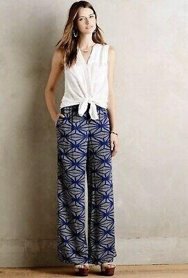 Anthropologie Hei Hei Navy and Ivory Geometric Pattern Drawstring Pants sz M