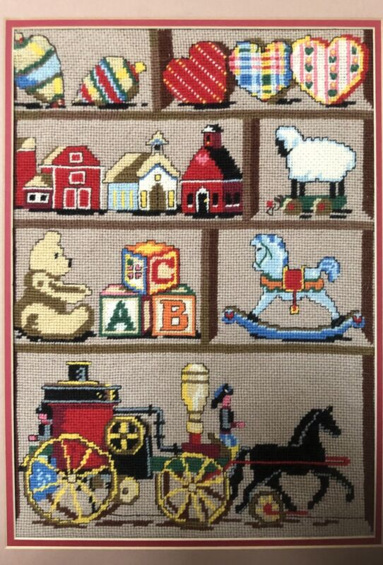 """COMPLETED Bucilla Needlepoint Kit Antique Hutch 4519 12"""" x 16"""""""