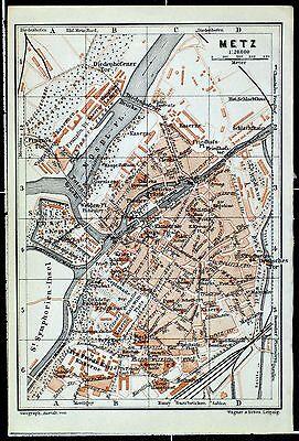 METZ, alter farbiger Stadtplan, gedruckt ca. 1910