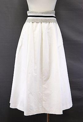 NWT $1325 Brunello Cucinelli Metallic Lurex Striped Pleated Full Skirt Sz 42/6US