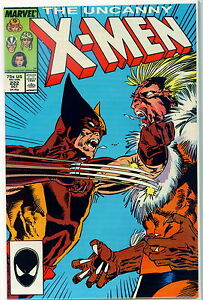 UNCANNY-X-MEN-222-CLASSIC-WOLVERINE-Vs-SABRETOOTH-BATTLE-8-0-VERY-FINE
