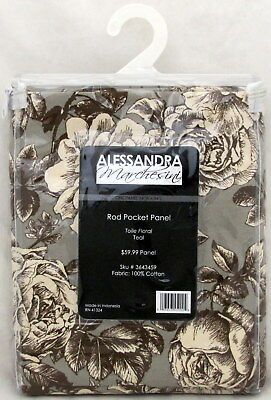 Floral Teal Rod Pocket Panel Alessandra Marchesini 54 X 84 Window Curtains (Rod Pocket Panel)