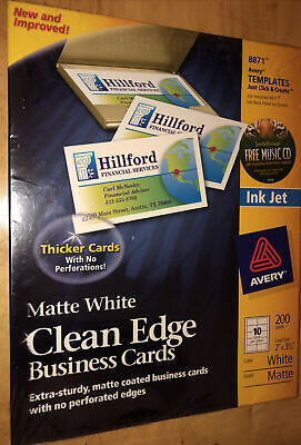 Avery Clean Edge Business Cards Inkjet White 8871  072782088712