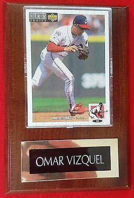dd6b2b3de6 Omar Vizquel #13 Upper Deck 1994 Card #629 Cleveland Indians Wood Plaque  MINT