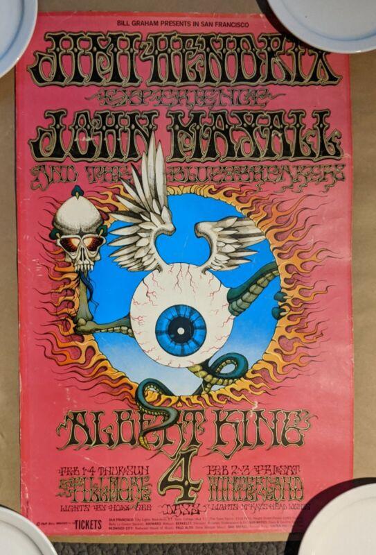 Jimi Hendrix  Flying Eyeball Rick Griffin Vintage ORIGINAL 1968 2nd Print Poster