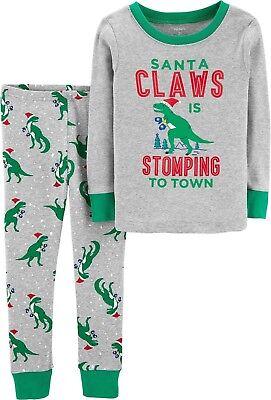 NWT Carter's Boys Santa Claws Dinosaur Pajama PJS Carters NEW Holiday Christmas (Boys Holiday Pjs)