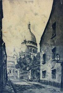 VIEUE-BASILIQUE-SACRE-COEUR-PARIS-AIGUE-FORT-SIGNE-MOLLET-FRANCE-CIRCA-1900