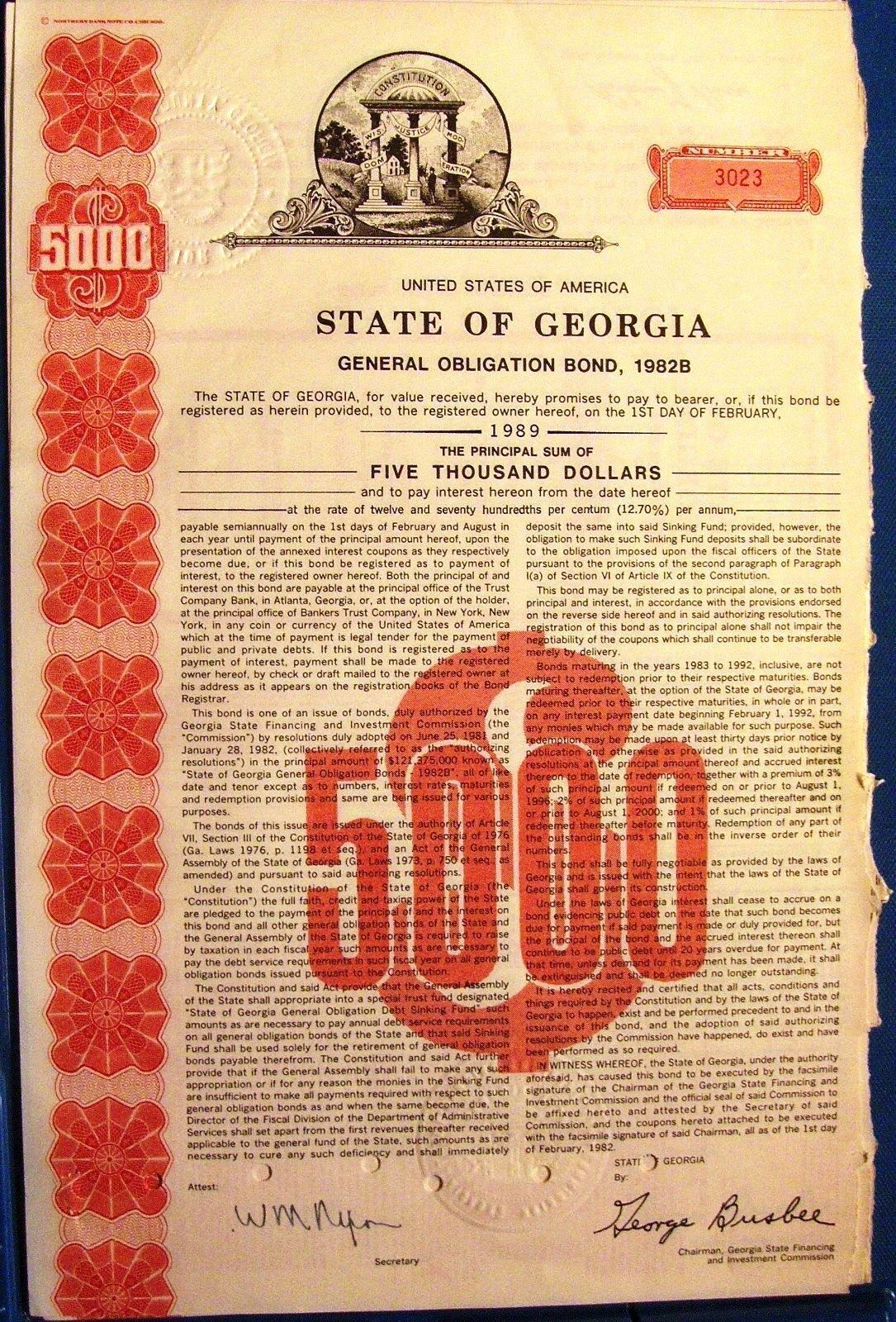 State Of Georgia, General Obligation 5000 Bond Dated 1982 - $7.00