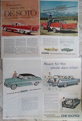 16 VINTAGE DE SOTA CAR ADS ADVERTISING 1950's NATIONAL GEOGRAPHIC AIRFLOW III