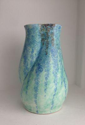 Vintage Art Deco Beswick Green Organic Shaped Vase Designed By M Symcox 1933
