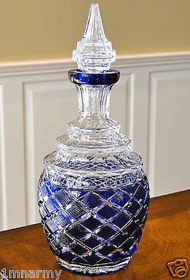 "Fabergé Anichkov Palace Decanter 13""H w/Topper, Cobalt Blue Cased Crystal"