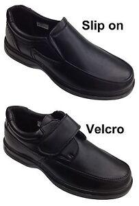 Hombre-Dr-Keller-Ancho-Zapatos-antideslizamiento-de-Piel-Sintetica-Negro-Comodo