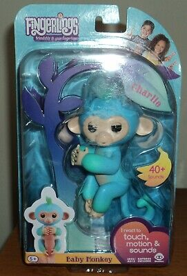 WowWee Fingerlings Two Tone Baby Monkey Toy - CHARLIE (Blue/Green) - NIB