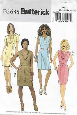 Easy Butterick Pattern #5638-Misses Dress & Belt-Sizes 8-10-12-14-16