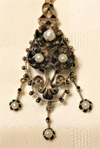 Rose Gold Victorian Lavalier Seed Pearls