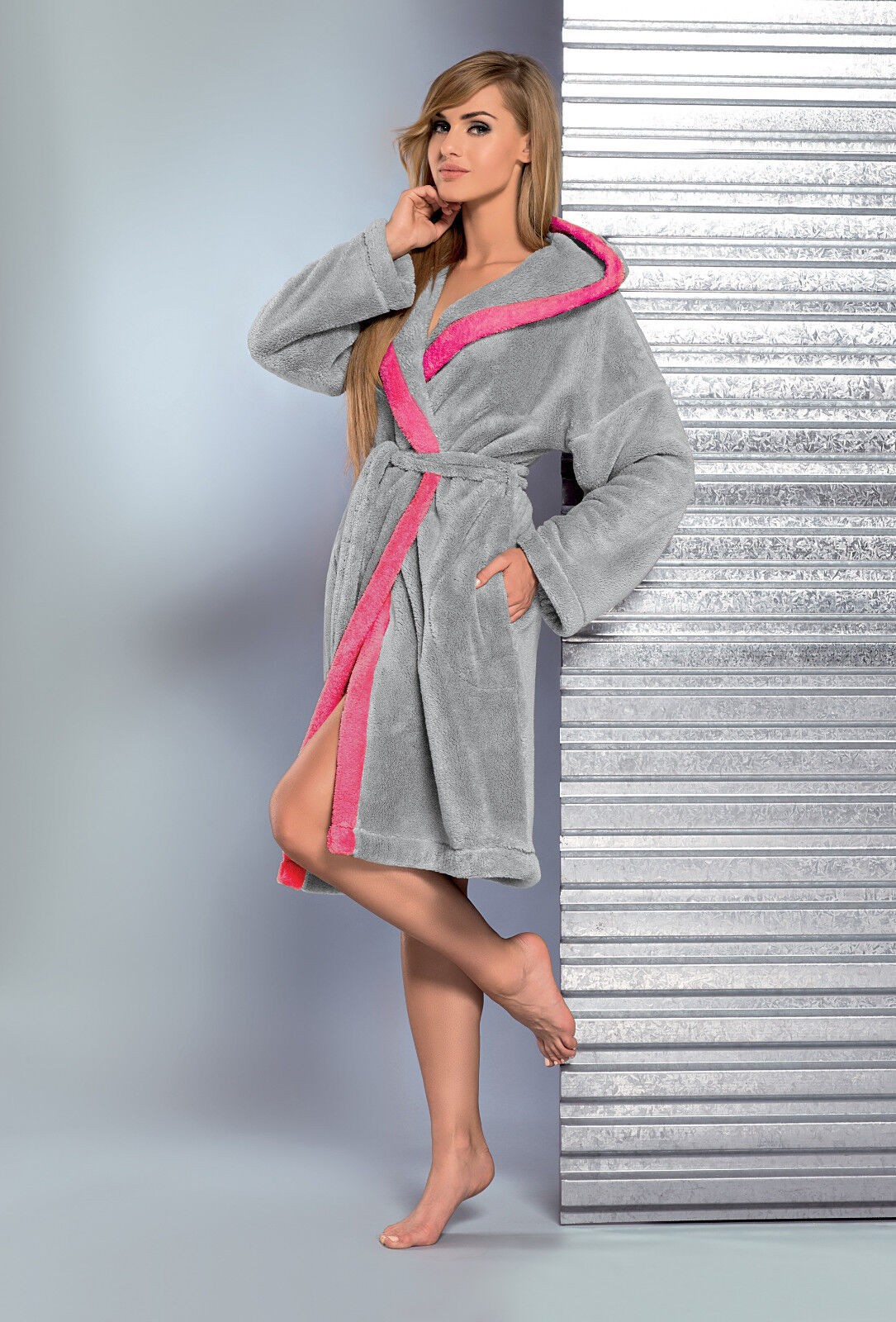 New Womens Dressing Gown Classic Bathrobe Hooded Housecoat Robe Size ...