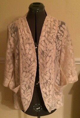 Girls White Blazer (Material Girl Cream Off-White Lace Flower Open Blazer XL GUC Poyester)