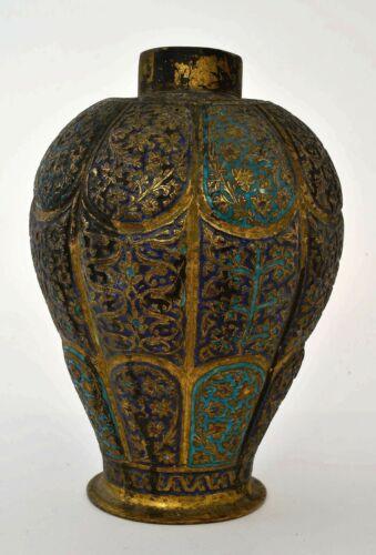 19C Indo Persian India Indian Kashmir Kashmiri Gilt Copper Enamel Vase Tea Caddy