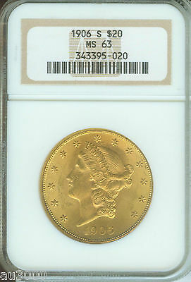 1906 S $20 LIBERTY NGC MS63 GOLD COIN MS 63  OLD HOLDER