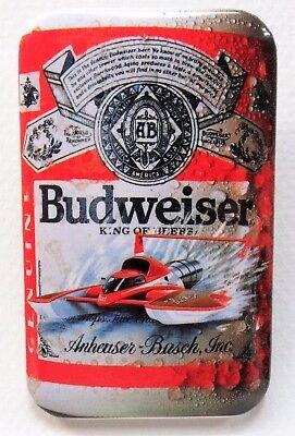 1990 BUDWEISER BEER CAN w/hydroplane boat rectangular pinback button