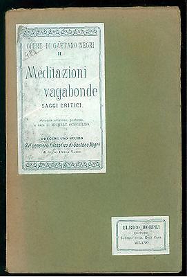 SCHERILLO MICHELE MEDITAZIONI VAGABONDE HOEPLI 1906 OPERE DI GAETANO NEGRI II
