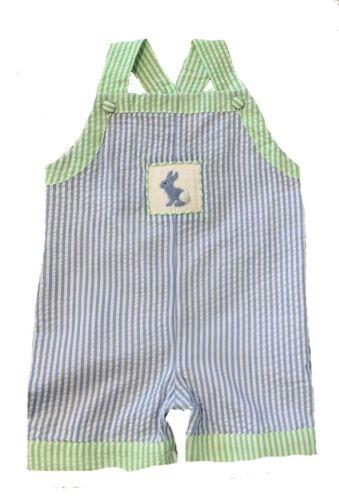 Boys Blue Smocked Bunny Striped Romper Infant Toddler Easter 3m-3T NWT