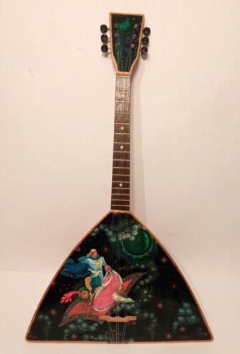 Original Russian Folk Instrument Balalaika 6 string painting hand made 80s USSR