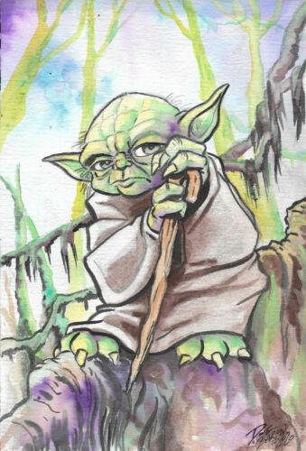 Yoda....original watercolor  illustration