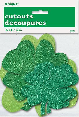 Shamrocks Mini Cut-outs (6 x MINI St Patricks Cut Out Glitter SHAMROCKS Cutouts Decorations FREE P&P)