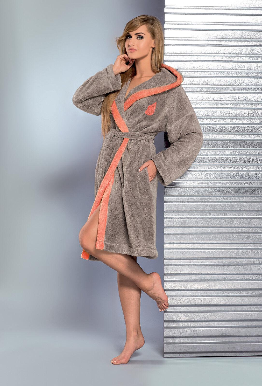 New Womens Dressing Gown Classic Bathrobe Hooded Housecoat Robe Size ...