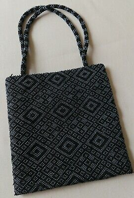 Vintage Style Beaded Black and Grey Evening Bag