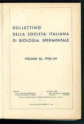 BOLLETTINO DELLA SOCIETA' ITALIANA DI BIOLOGIA SPERIMENTALE 1936 ANNATA COMPLETA