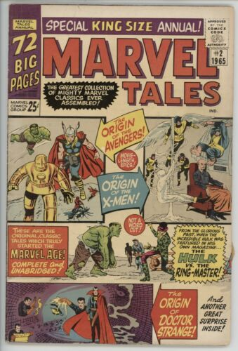 Marvel Comics Marvel Tales Annual 2 Origin Issue VG- to VG+ 1965 comic book