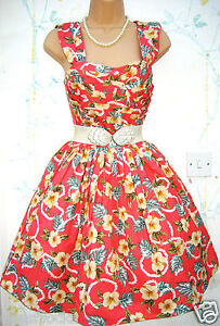 SIZE-16-18-VINTAGE-STYLE-50S-ROCKABILLY-ROCK-N-ROLL-PIN-UP-DRESS-US-14-EU-44