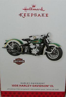 Hallmark Xmas Tree Holiday Ornament 1936 Harley Davidson El Motorcycle Green