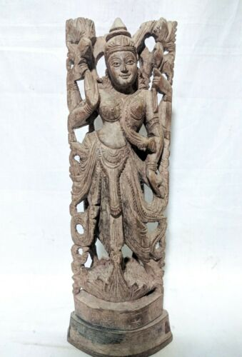 Antique Lakshmi Devi Sculpture Wooden Temple Statue Pooja Figurine Home Decor