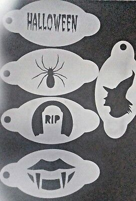5 x Halloween face painting stencils reusable over & over  spider RIP fags witch - Face Painting Spider Halloween