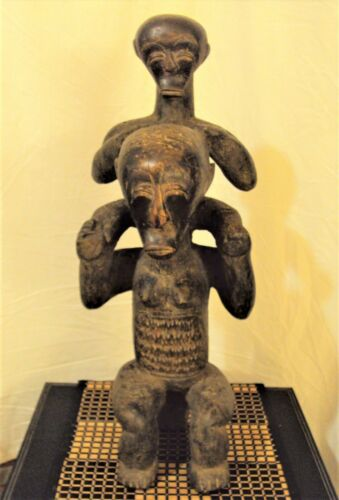 """24"""" DOUBLE FANG STATUE African Carving LARGE!!"""
