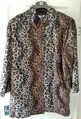 AND ABIGAIL BROWN & GREY SHADES LEOPARD PRINT FLEECE JACKET Brown Leopard Fleece
