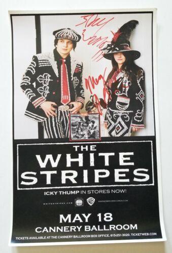 "White Stripes REAL hand SIGNED 11x17"" Concert Poster JSA LOA by Jack & Meg White"