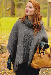 KNITTING-PATTERN-No-2012-LADYS-CABLED-POLO-NECK-PONCHO-in-ARAN