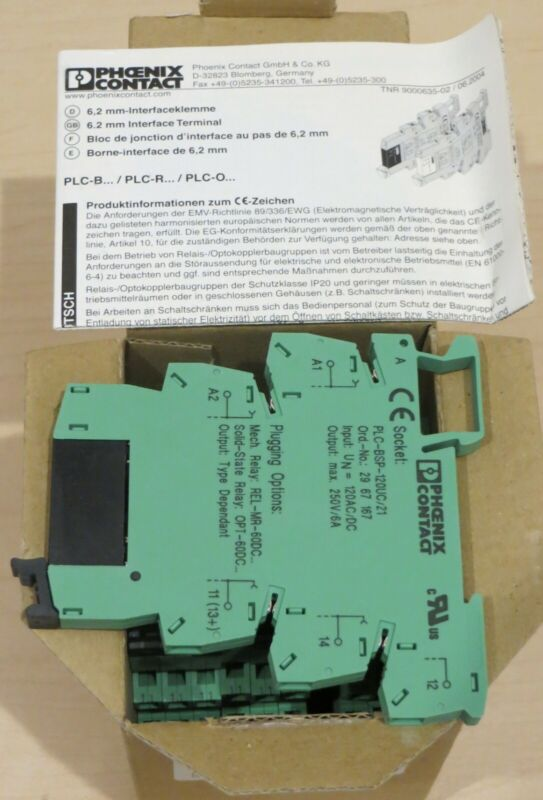 NEW PLC-OSP-120UC/24DC/2 Box of 10 Phoenix Contact 120V solid state relays