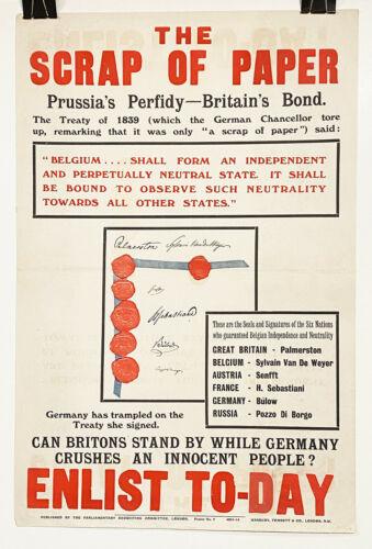 "Original England 1914 WWI Recruiting Poster: ""The Scrap of Paper"""