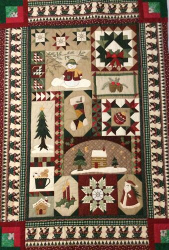 Handmade Christmas panel quilted wall hanging