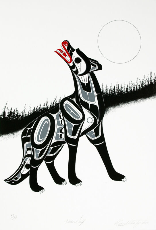 Native Wolf Serigraph First Nations Limited Edition Print