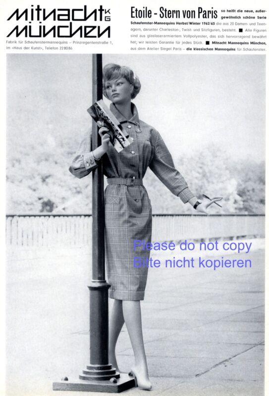 Mannequin Mitnacht Munich German ad 1962 display dummy Etoile Star of Paris +