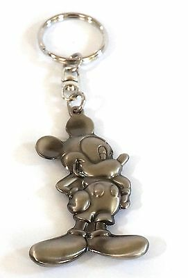 Disney Mickey Mouse Standing Flat Retro Pewter Keyring Keychain